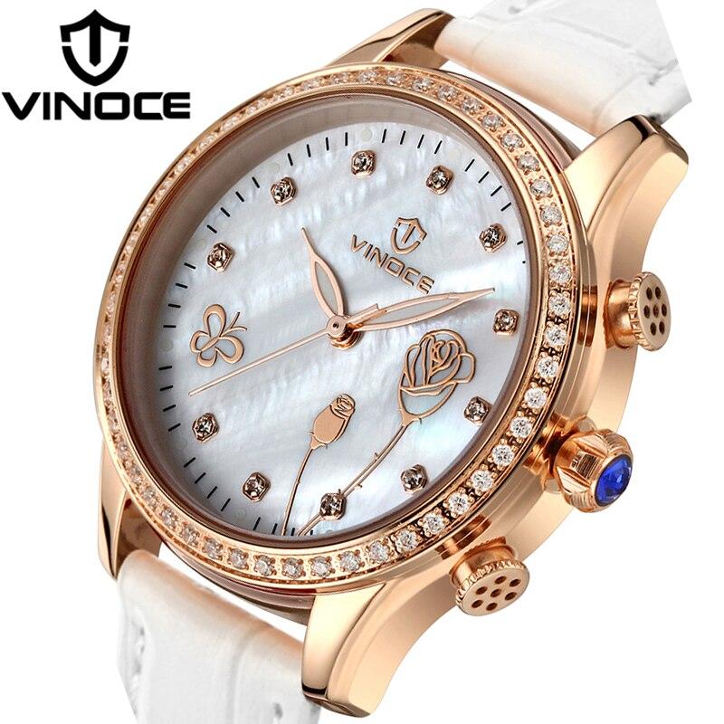 24e7be688 Vinoce أزياء الكوارتز ساعات نسائية تصميم زهرة الهاتفي أنيق جلد طبيعي باند  النساء montre فام