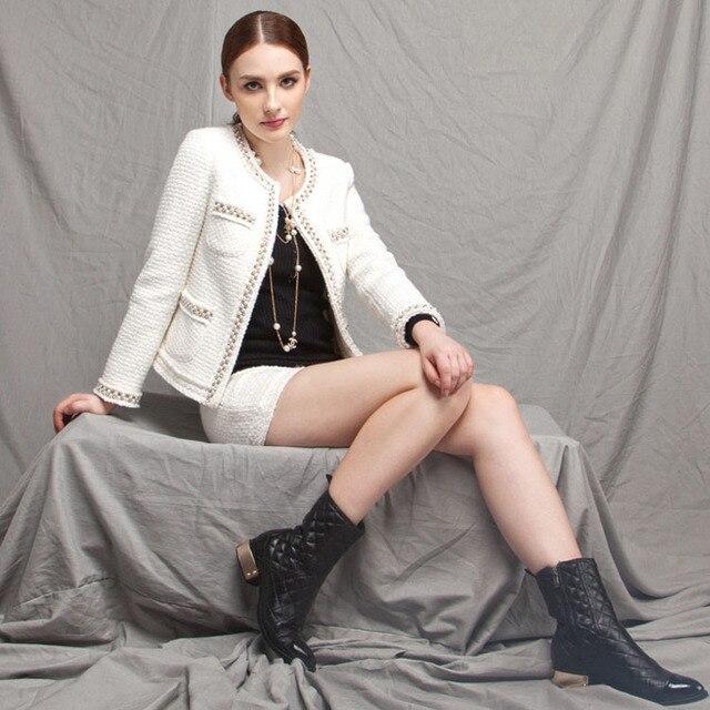 Di Alta Europea Perline Signore Tweed Eleganti Moda Qualità Abiti qTOxw55v