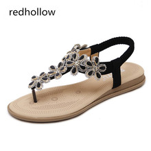 2019 Women Sandals Comfort Summer Bohemia Flat Women Sandals Woman Flip Flops Fashion Flower Shoes Beach Sandalias Mujer стоимость