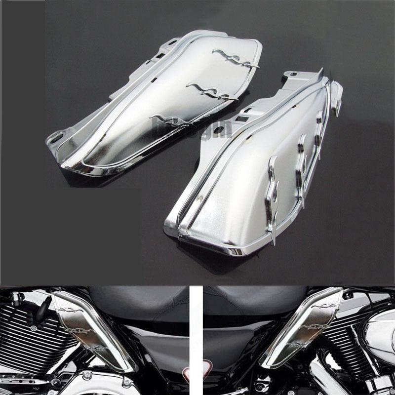 Chrome Hot AirMaster Mid-Frame Air Deflector For Harley Electra Glide Road Glide Road King Street Glide Tri Glide Motorcycle  pair air deflector windshield side wings dark tint smoke for harley electra glide road kingstreet glide motorcycle