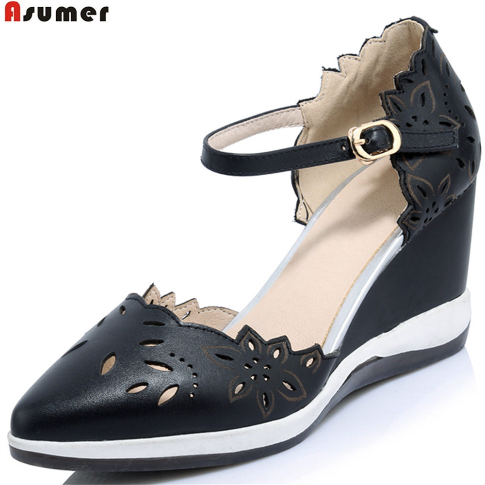 ASUMER fashion spring autumn new women pumps pointed toe shallow wedges shoes buckle genuine leather s high heels shoes universe women s shoes genuine leather wedges shallow mouth pointed toe buckle strap e073
