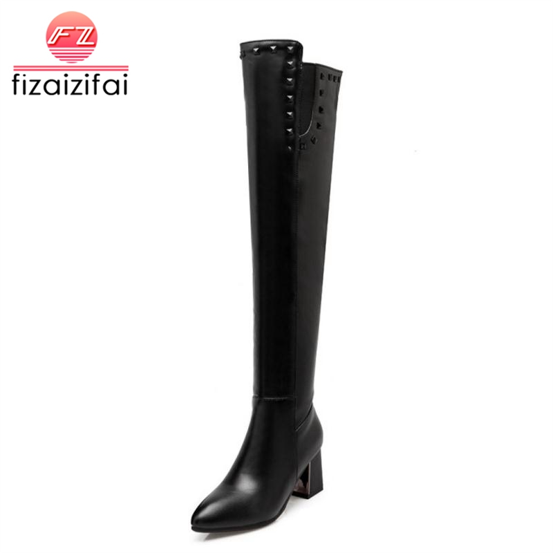 Aggressiv Fizaizifai Plus Größe 33-47 Frauen Oberschenkel Hohe Stiefel Sexy Warme Pelz Schuhe Frau Nieten High Heel Lange Stiefel Zipper Spitz Schuhe