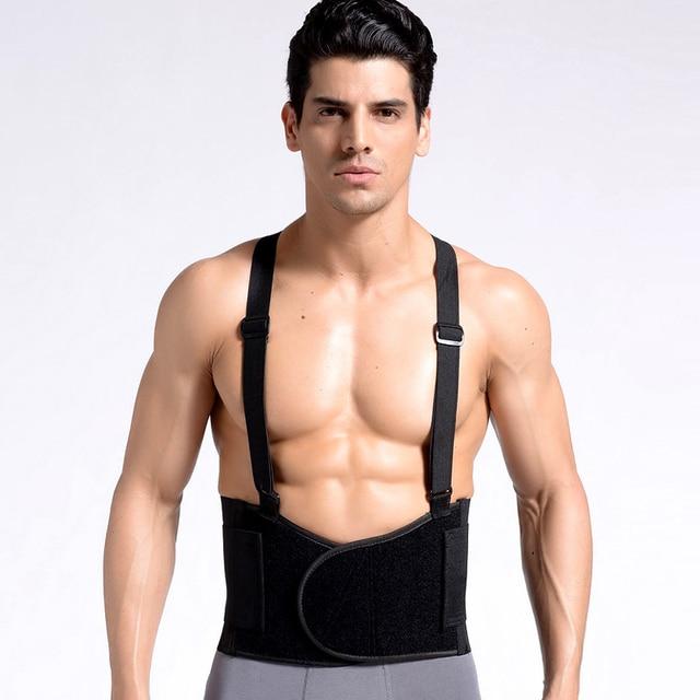 Back Belt Adjustable Waist Support Belt Men Medical Lumbar Back Belt With Shoulder Sraps Posture Back Support Corrector Belt