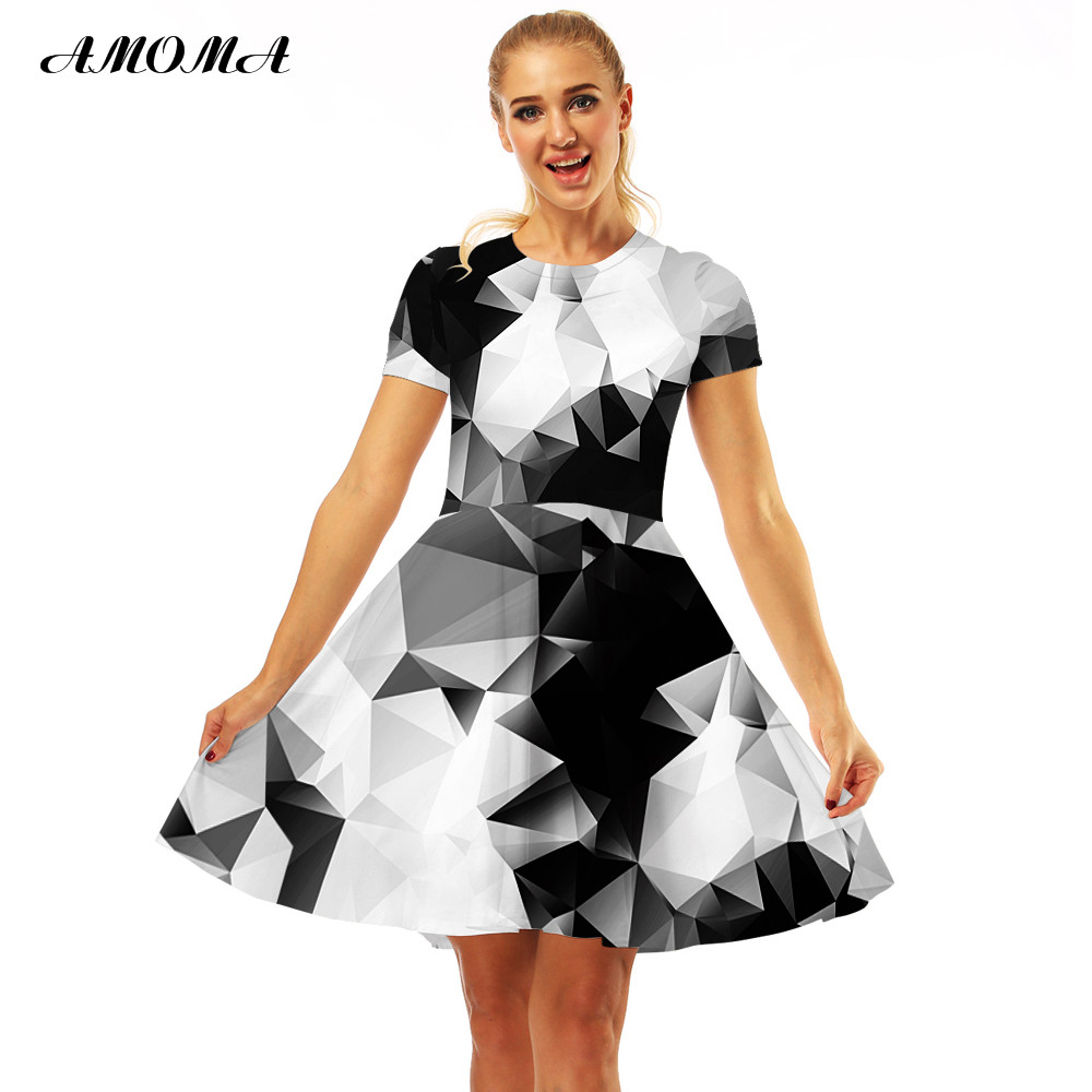 AMOMA Women Slim Fit Vintage Dress Short Sleeve 3D Print Casual Summer A Line  Midi Dress Triangle-in Dresses from Women s Clothing on Aliexpress.com ... ff261ac07500