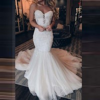 Angel Married Mermaid Wedding Dresses Pearls Lace Appliques Sweetheart Court Train Bridal Wedding Gowns with Tulle Skirt