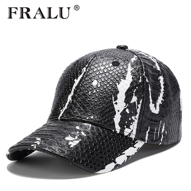 FRALU New fashion high quality fall winter men leather hat   Cap   casual moto snapback hat men's   baseball     cap   wholesale