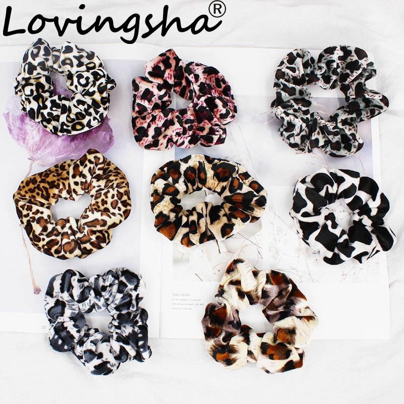 LOVINGSHA Leopard Women Hair Accessories Ladies Hair Tie Striped Lady Scrunchies Ponytail Hair Female Girl Holder Rope FC117(China)