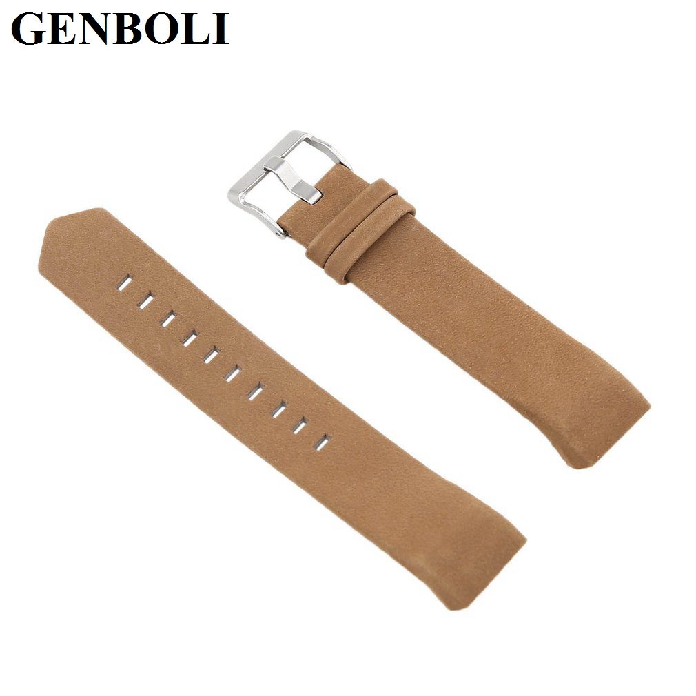 GENBOLI 3 Colors Genuine Leather Wrist Band Watch Strap For Fitbit Charge 2 Smart Bracelet Replace Watchband With Steel Buckle stainless steel watch band for fitbit charge 2 wrist strap band bracelet link watchband smart wristband accessory for charge2