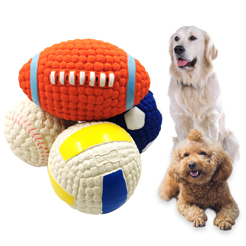 Pet Dog Toy Natural Latex Dog Balls Squeak Toys Chew Toy