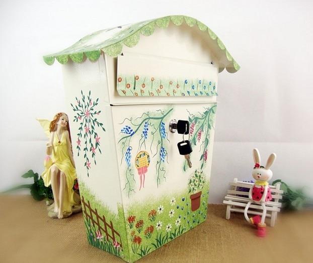 Утолщенный модный Европейский деревенский цветной узор большой металлический Железный почтовый ящик с буквенным принтом, почтовый ящик, п... - 2