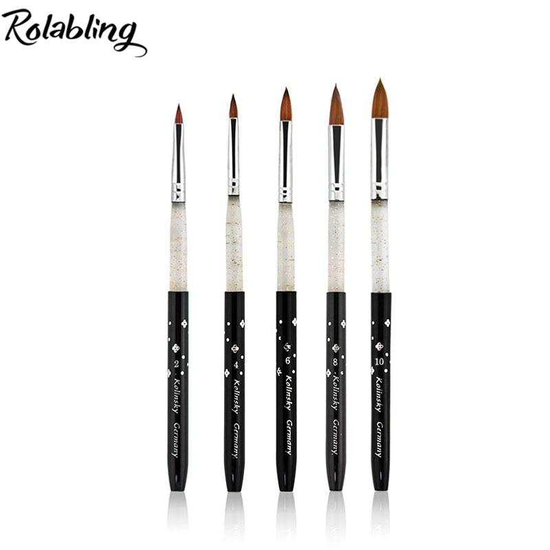 Rolabling Kolinsky Sable 5pcs/SET size 2#/4#/6#/8#/10# acrylic brush black Kolinsky sable acrylic nail brush nail art design цена и фото