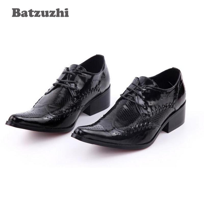 Здесь можно купить  Batzuzhi Luxury 2018 New Leather Shoes Men Height Increased Men Shoes Business Party and Wedding Shoes Zapatos Hombre Size 38-46  Обувь