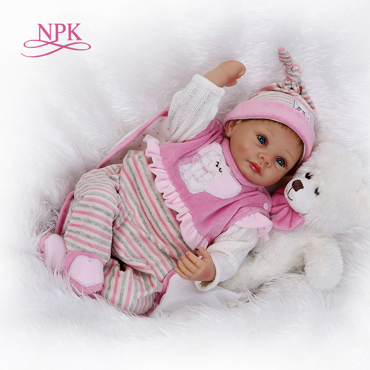 NPK 55cm Silicone Reborn Boneca Realista Fashion Baby Dolls For Princess Children Birthday girls Gift Bebes Reborn Dolls npk brand doll reborn long brown hair princess baby dolls soft silicone toddler girls toys boneca reborn realista