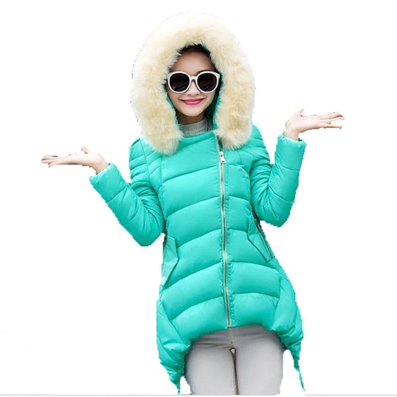 ФОТО 2016 New Winter Wadded Jacket Women Long Slim Thick Down Cotton Coat Female Fur Collar Hooded Zipper Women Winter Jacket W027