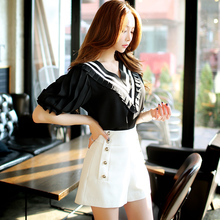 dabuwawa female shorts summer 2016 korean casual wide leg high waisted shorts women black white pink doll
