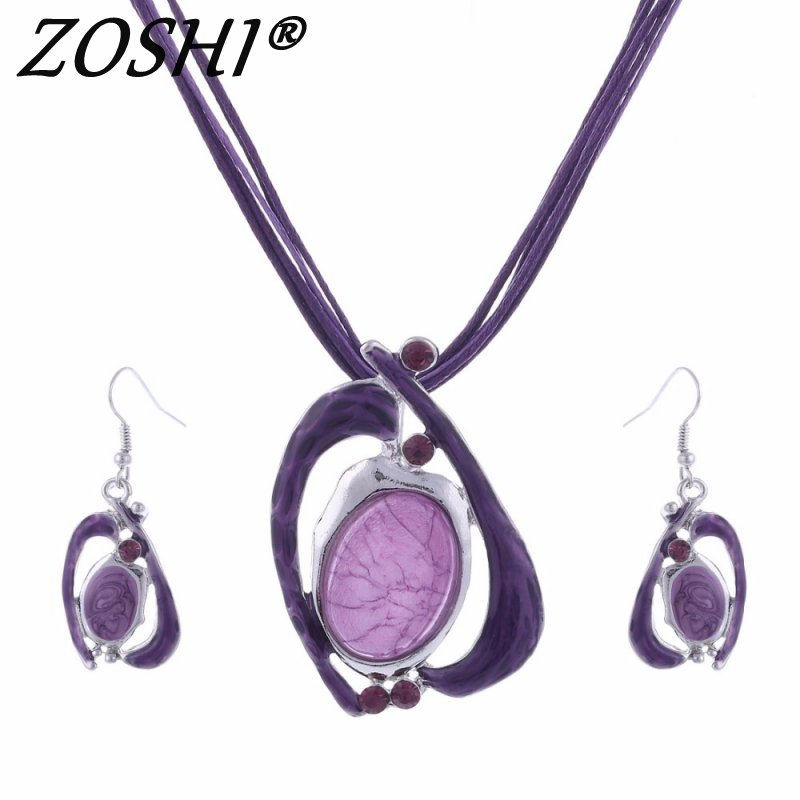 Fashion Gem Drop Jewelry Sets Silver Color Pandent Necklace Drop Earrings Crystal Multilayer Leather Jewelry Set For Women