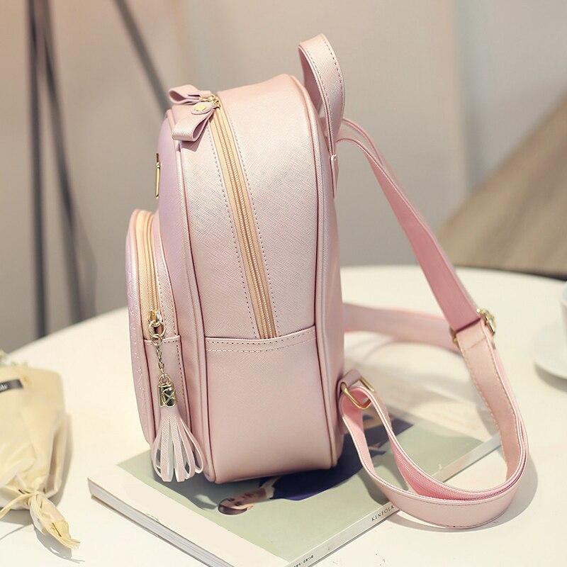 Vintage Mini Tassel Women Bakcpack Solid School Bag Simple Bags for Teenage Girls Female Leather Backpack Rucksack Black