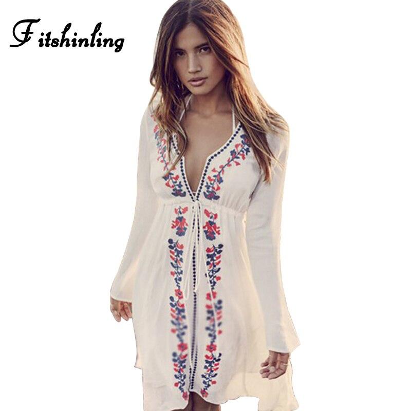 Цветы вышивка летнее праздничное пляжное платье женская одежда винтажные V шеи сексуальные платья Женская одежда белый выходы парео распро...