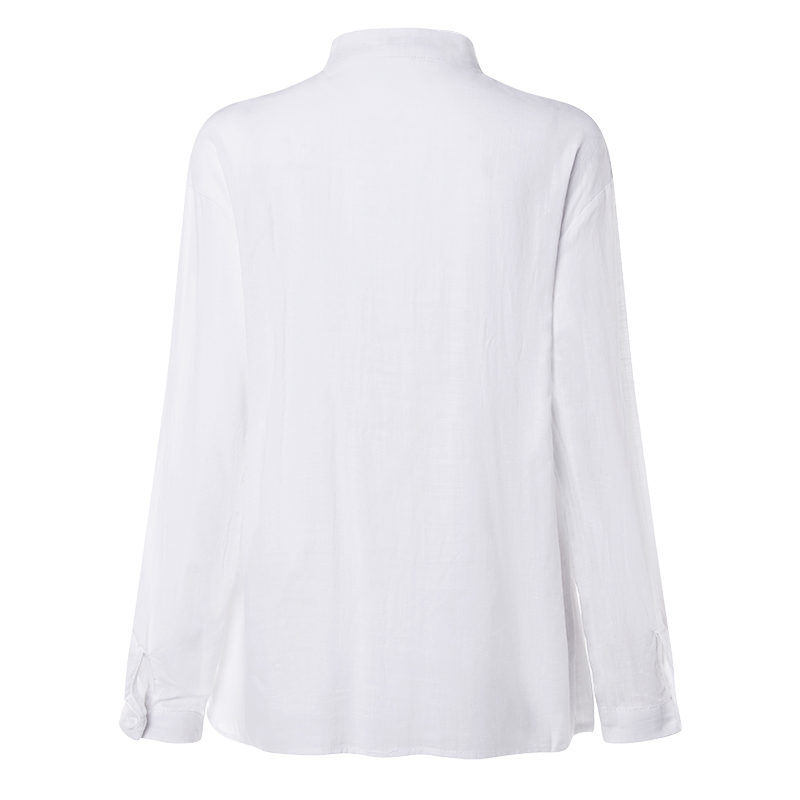 VONDA New Women Blouses 19 Summer Office Lady White Shirts Lantern Sleeve Buttons Deep V Neck White Blouse Sexy Plus Size Tops 21