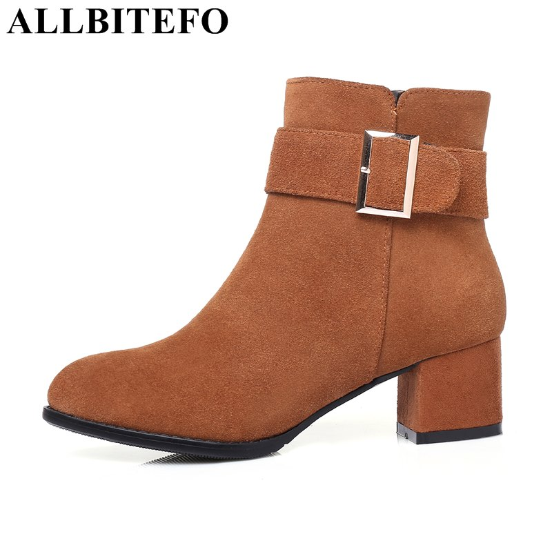 ALLBITEFO large size:33-43 Nubuck leather brand buckle ankle boots thick heel high quality women boots martin boots girls shoes цены онлайн