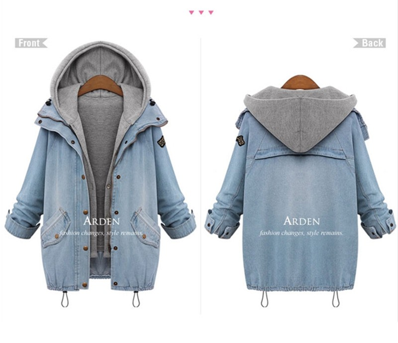 Hooded Drawstring Trends Jackets 2016 Fashion Autumn Winter Pockets Two Piece Outerwear Women Long Sleeve Buttons Blue Coat  (2)