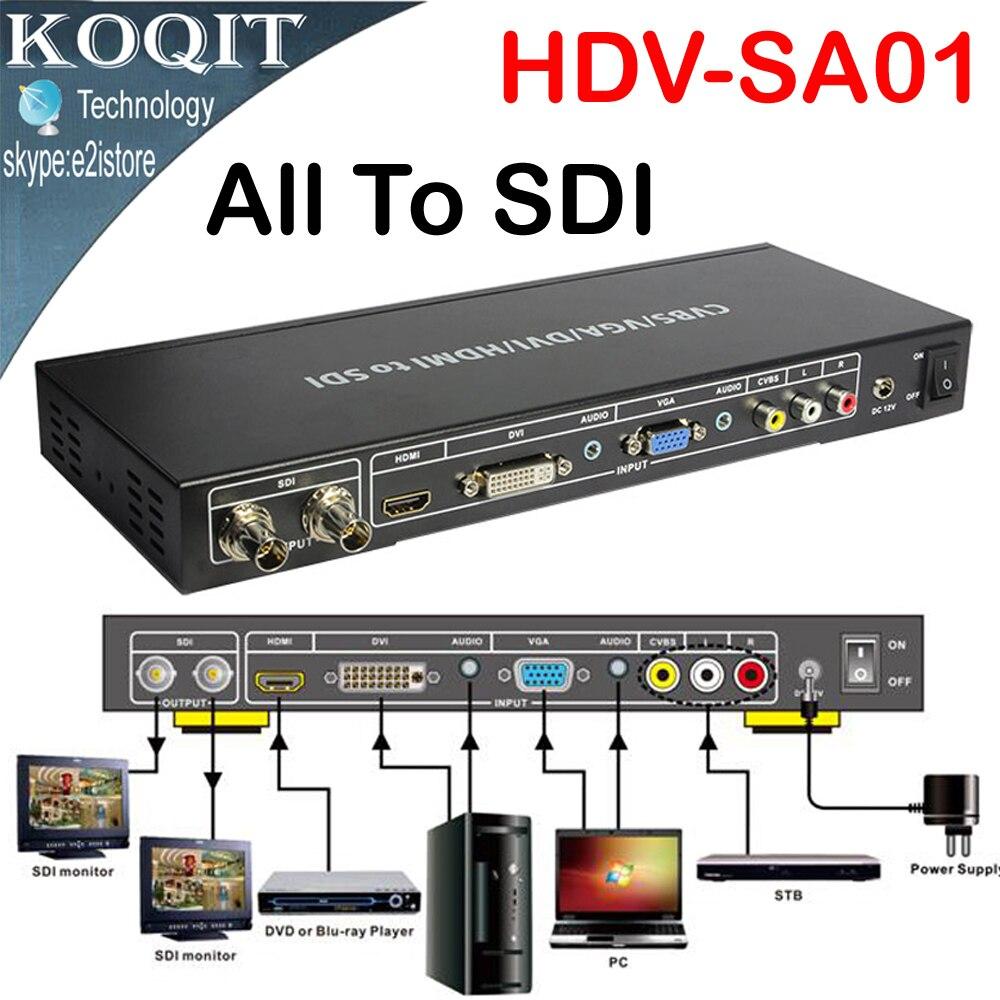 Tous à SDI Scaler convertisseur Composite VGA, DVI, AV, HDMI signaux vers HD vidéo 2 ports 3G SDI formats répartiteur répéteur étendu 100 m