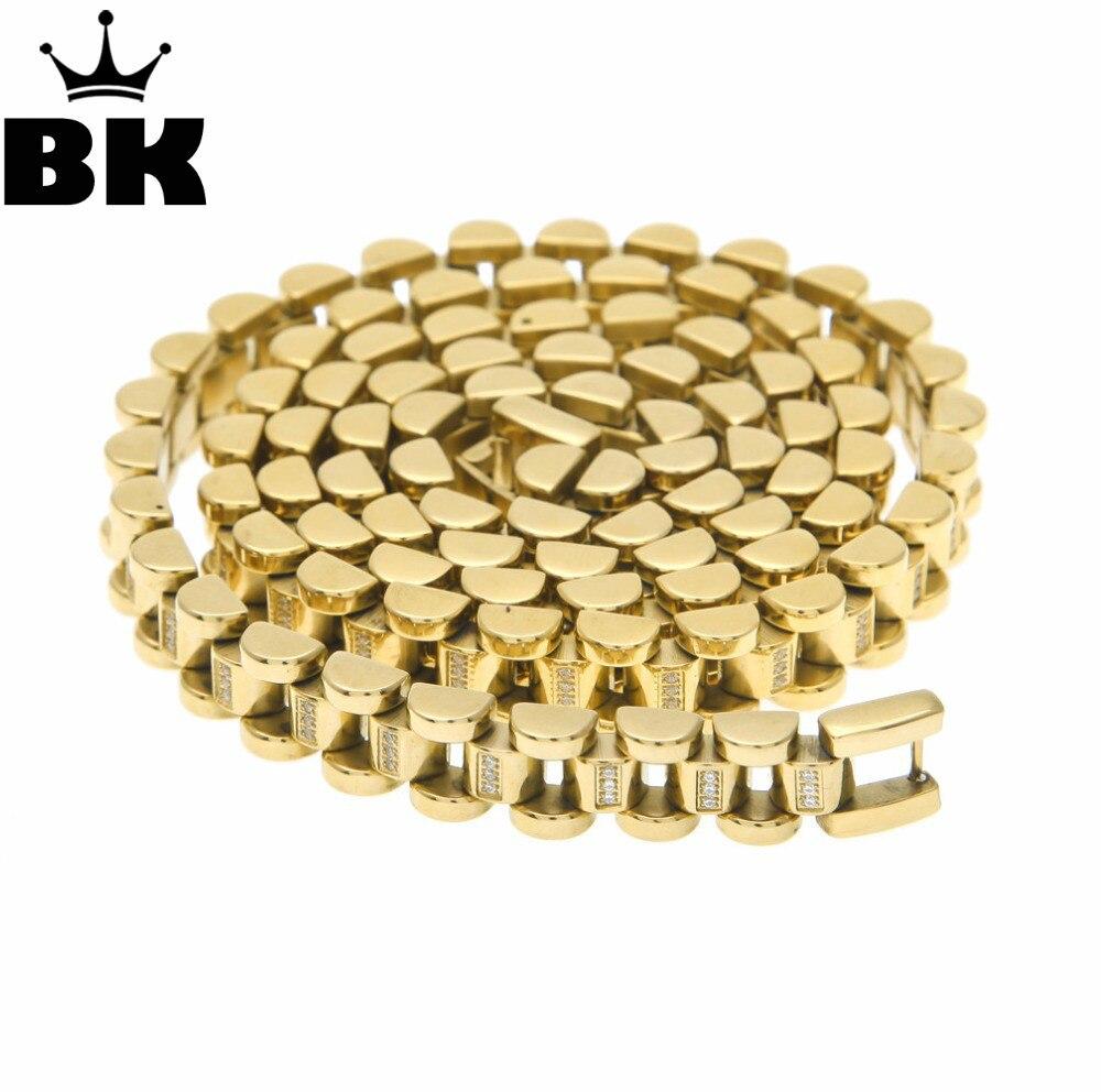 Hip Hop Copper Gold Color Chain Necklace High Quality 30 inch Gold Jewelry Men Jewelry Men Necklace Copper 10MM 75CM Chain