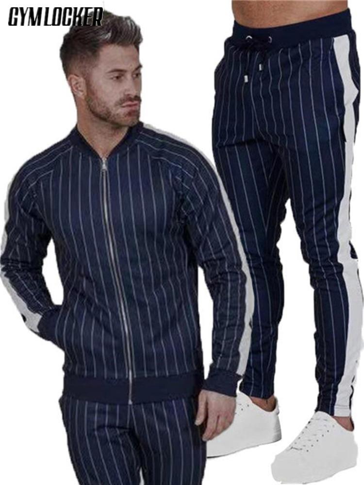GYMLOCKER Brand New 2018 Male Fashion Set Men's Sweatshirts Clothing + Sportwear Tracksuit Causal Suits Men Sweatshirt Pants Set