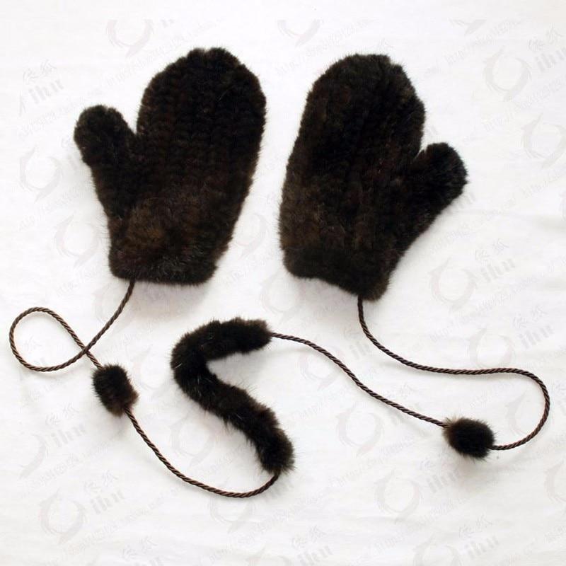 Image 2 - Brand fashion Winter women gloves genuine 100% real mink fur glove knitted mittens thick warm fur Gloves & Mittens-in Women's Gloves from Apparel Accessories on AliExpress