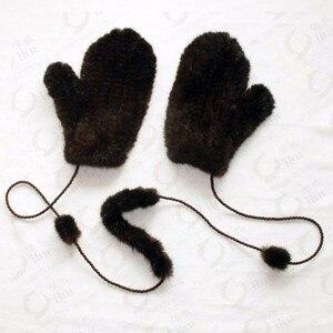 Image 2 - Guantes de invierno para mujer, manoplas de 100% piel de visón auténtica auténtico, de punto, gruesos y cálidos, para invierno