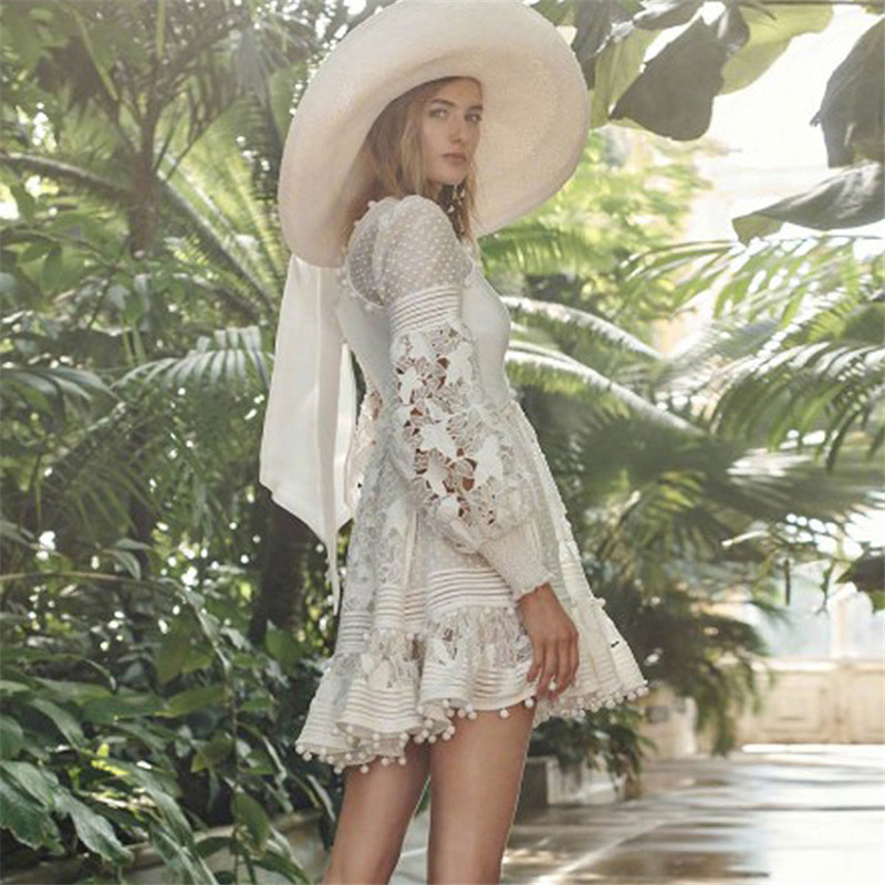 2018 New arrive white lace flower dress