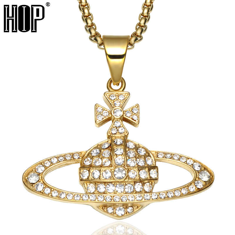 HIP Hop Bling Bling Iced Out Cross Planet Necklaces Titanium Stainless Steel Charm Necklaces & Pendants for Men Women Jewelry