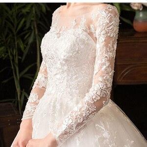 Image 5 - 2021 새로운 우아한 O 목 풀 슬리브 웨딩 드레스 환상 레이스 자 수 간단한 사용자 정의 만든 된 신부 가운 Vestido De Noiva L