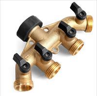 DN20 3/4'' Water Control Valve Brass Shunt Hose Splitter Watering Irrigation Shut Off Valve 4 Way Connector For Gardening Tool