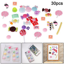 30Pcs/Set Slime Beads Candy Flatbacks Resin Flat Back Scrapbooking Charms DIY Accessories XH8Z FE15(China)