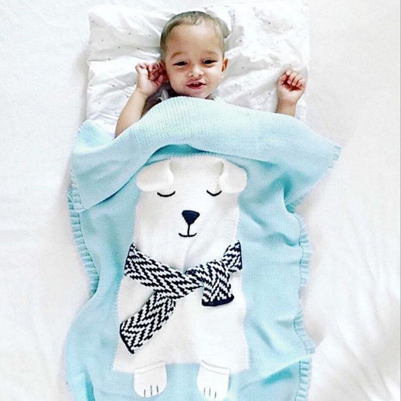 Hot BabyToddler Bed Knitted Baby style Blanket Wrap Soft Blankets Newborn Big White bear Ear Swaddling Kids Gift bz3