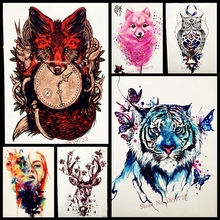 1PC Hot Flash Red Fox Tattoo Sleeve For Men Women Body Art Waterproof Wolf Clock Tatoo Decal Temporary Arm Tattoo Sticker HHB388