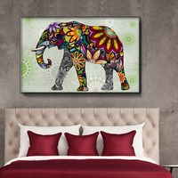 Abstract Colorful Flowers Elephant Pattern Full Diamond Painting Southeast Asia Style Living Room Decorative Diamond Paintings
