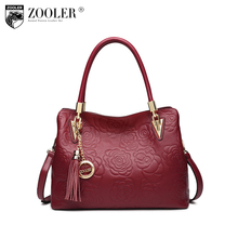 ZOOLER brand genuine leather bag female skin tote high quality floral embossed handbag ladies shoulder bag bolsa feminina C113