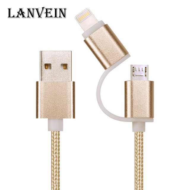 Brand High quality usb cable 2in1 For lightning & micro USB nylon braided charging cord data cable for iPhone / Samsung and more