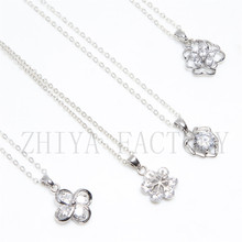 Charm Vintage lady Crystal Snowflake Zircon Flower Silver Necklaces Jewelry for Women best friends pendant Girly Necklace