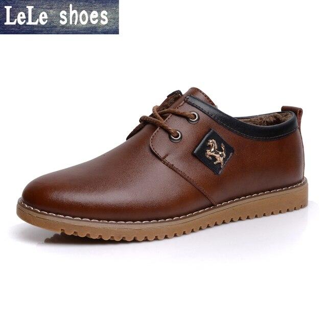 2016 Nuevo de Alta Calidad de Los Hombres de Cuero Genuino Zapatos casuales de cuero felpa de piel de Nieve Oxford Formal Calientes Zapatos Planos de Gran Tamaño 38-46