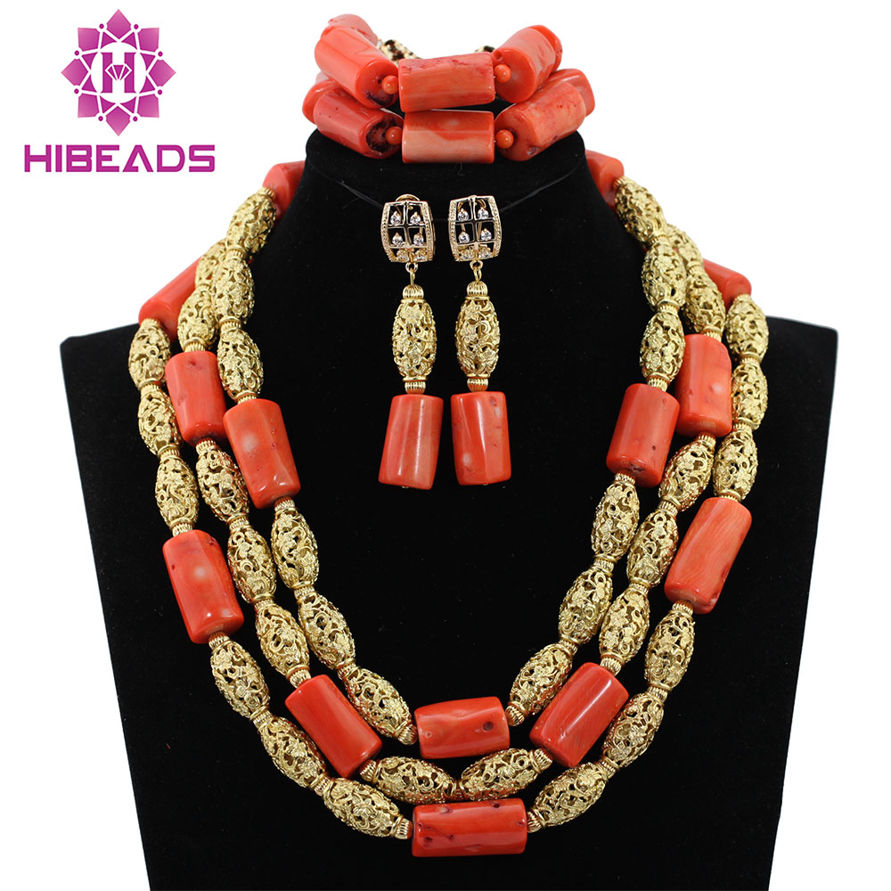 African Coral Bead Bridal Jewelry Set for Wedding Party Handmake Nigerian Traditional Jewelry Set hx137 chunfeng handmake dimaond cubezd002150