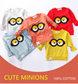 Brand Good Quality Superme Long Sleeve Shirt 3D Cartoon Minions Clothes Sport Children Kids Girls Boys Infant Sweatshirt