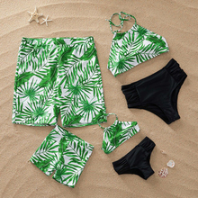 Family matching swimsuits tropical leaf print mother daughter swimwear dad son swimming trunks mommy and me matching clothes