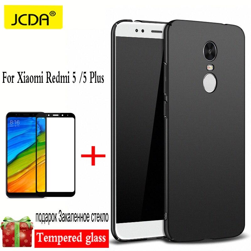 JCDA For Xiaomi Redmi 5 Plus Case For xiaomi redmi 5 Cover case silicone Back Hard + For xiaomi redmi 5 Plus Tempered film glass
