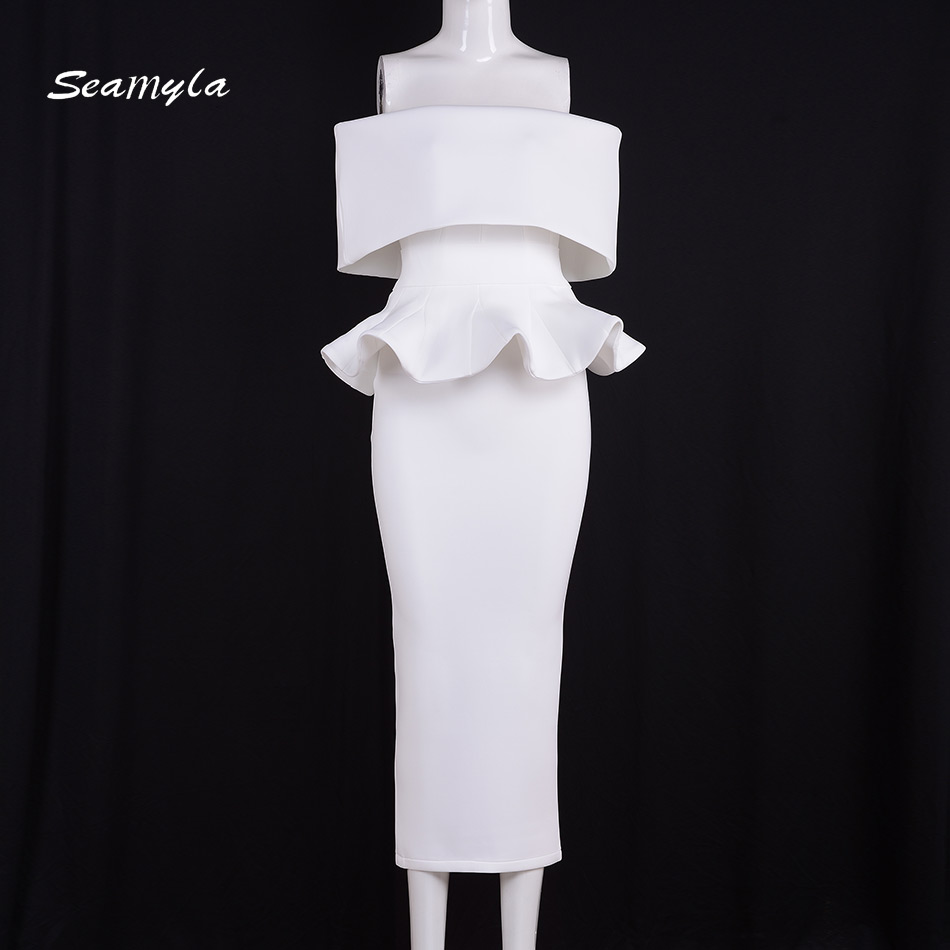 Seamyla Elegant White Vestidos Nes Fashion Mid Calf Ruffles Womne Evening Party Dresses Sexy Strapless Bodycon