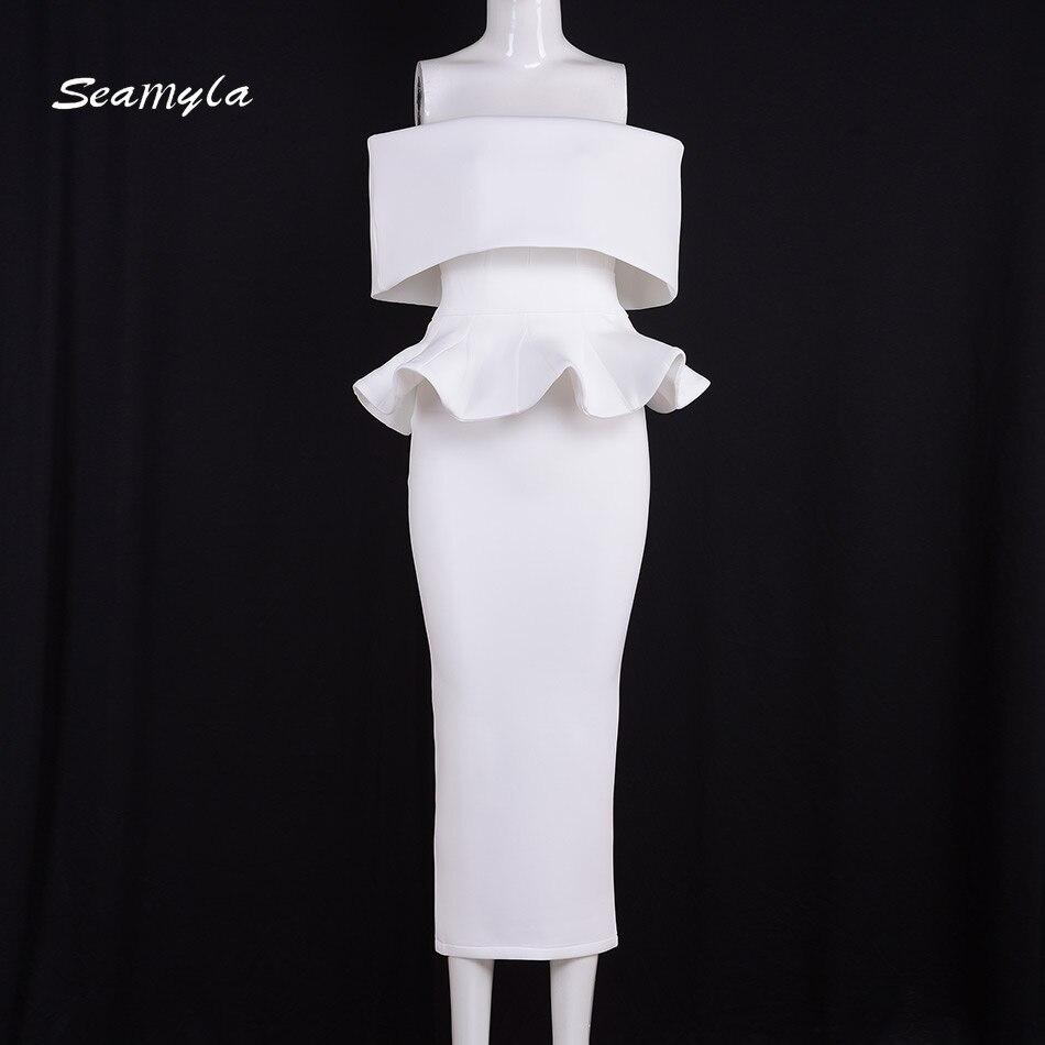 Seamyla Elegant White Vestidos Nes Fashion Mid Calf Ruffles Womne Evening Party Dresses Sexy Strapless Bodycon