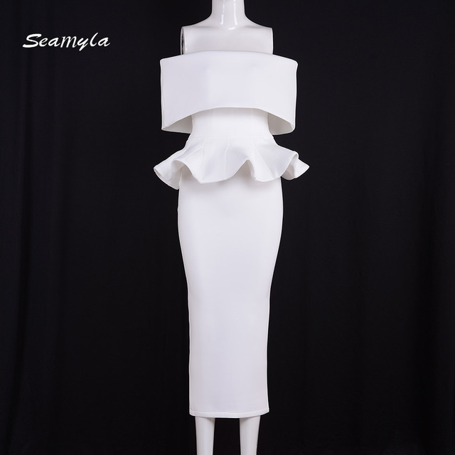 Seamyla Elegant White Vestidos Nes Fashion Mid Calf Ruffles Womne Evening Party Dresses Sexy Strapless Bodycon Summer Dress 2017