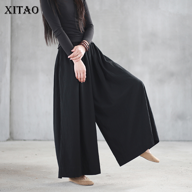 XITAO Women 2018 Winter Korea Fashion New Arrival Elastic Waisted Wide Leg Pantgs Female Solid